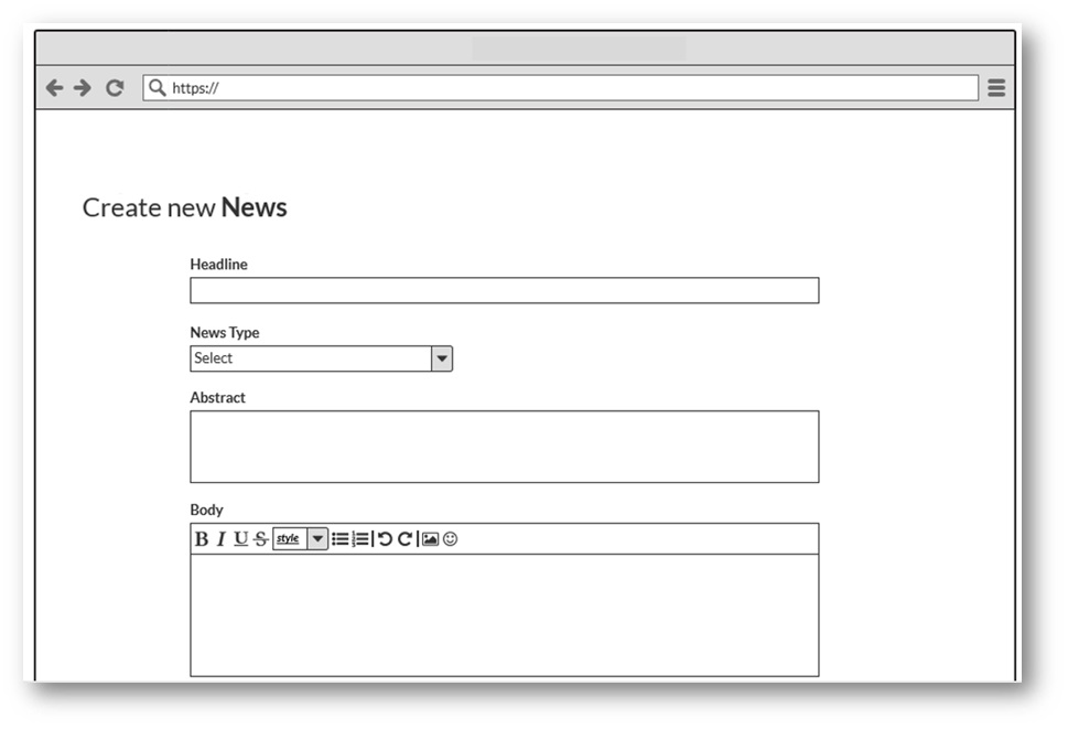 Example data entry wireframe