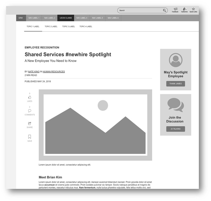 Example front-end wireframe