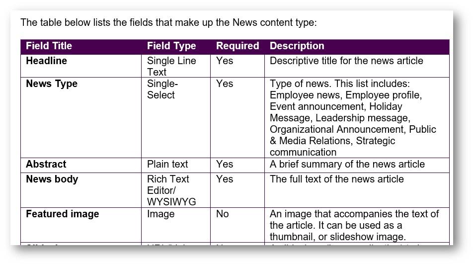 Example metadata spreadsheet