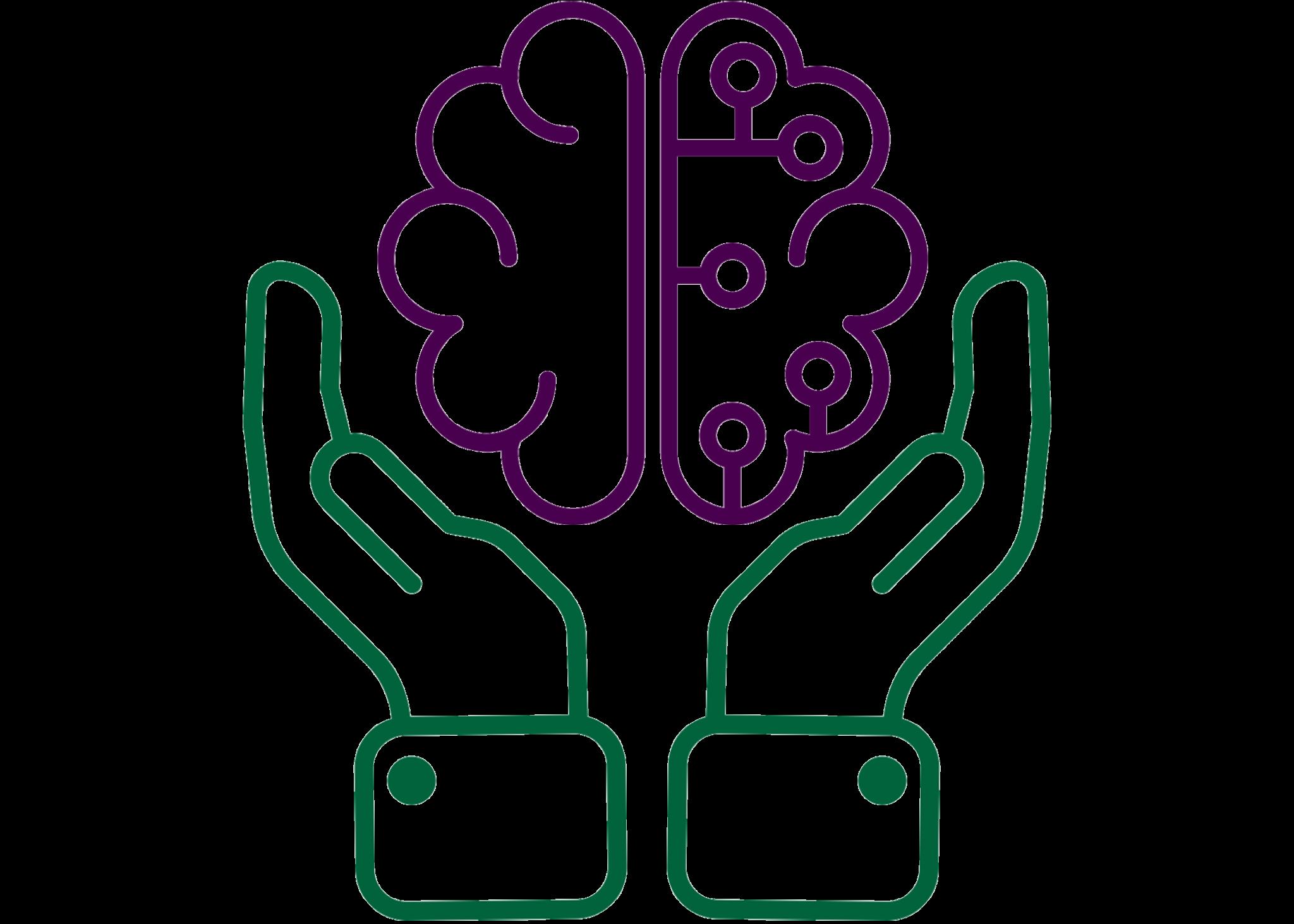 Hands holding a brain