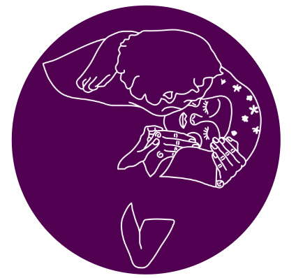 Purple circle with person holding a woman's face