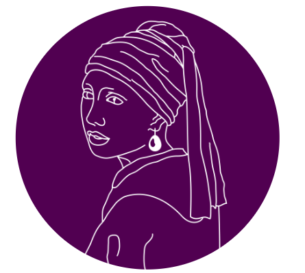 Purple circle with a sketch of a woman