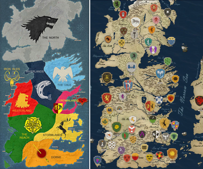 Kingdom maps of HBO's Game of Thrones