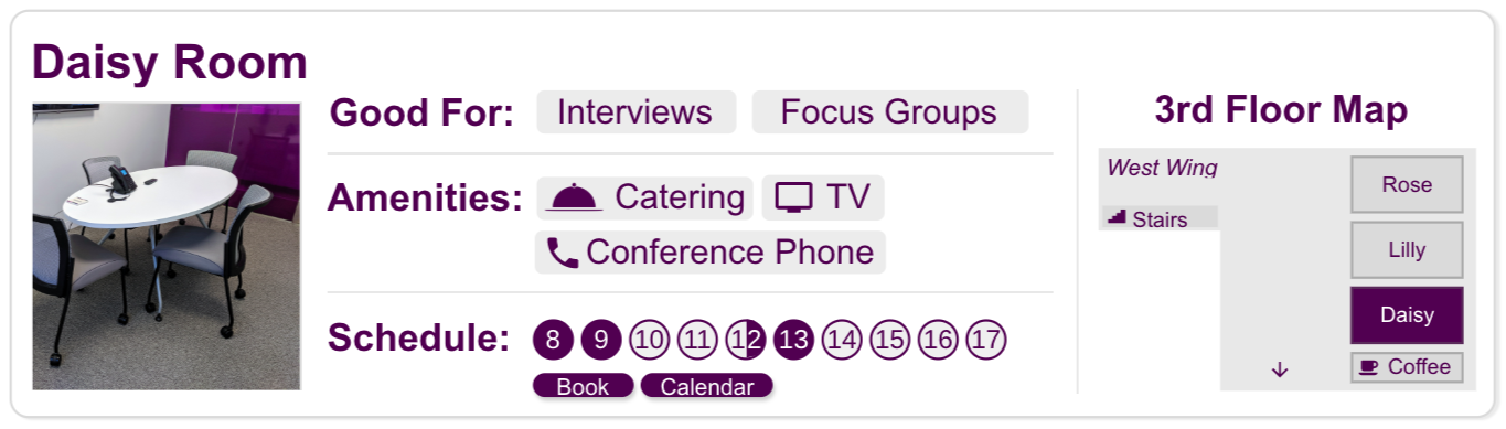 Example of an Action-Oriented Search Result for a meeting room. This search result is interactive and, in addition to having access to the most pertinent room-related information, the user can reserve the room within the result.
