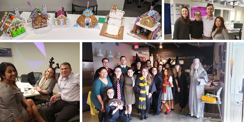 Photo Collage. EK Employees enjoy a Harry Potter themed Halloween Party. EK employees celebrate the holidays with a gift exchange and holiday party. EK employees build gingerbread houses.