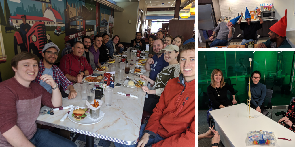 Photo collage of EK employees at lunch and having fun in the office.