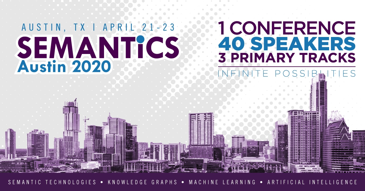 Austin skyline with Semantics conference information such as date