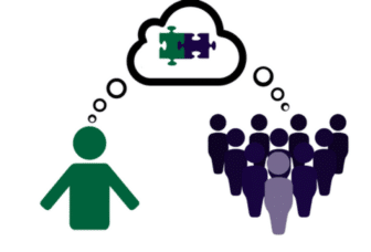 Gaining alignment between one single person and a group of people. The group of people and the single person are each contributing to the same thought bubble, showing how they are aligning on an idea.