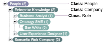 Example of classes in a taxonomy