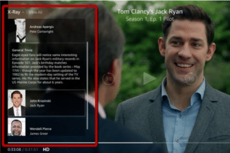 """An example of the X-Ray feature on amazon video, which presents facts such as """"general trivia"""" or the case of the show you are watching. This image shows an example of general trivia displayed through the x-ray feature about the show Jack Ryan."""