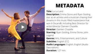 """an example of metadata from the movie La La Land, such as """"title,"""" """"description,"""" """"director,"""" and more."""
