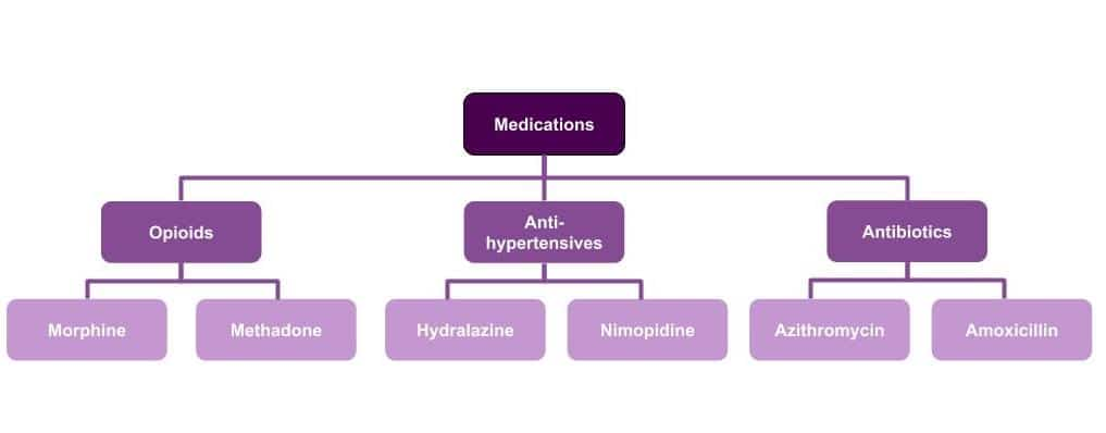 "An example taxonomy of medications, with parent categories such as ""opioids"" and ""antibiotics"" and corresponding medications that would fall within each category, such as ""morphine"" and ""amoxicillan"" respectively"