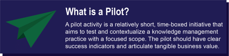 A pilot activity is a relatively short, time-boxed initiative that aims to test and contextualize a knowledge management practice with a focused scope. The pilot shoul dhave clear success indicators and articulate tangible business value.