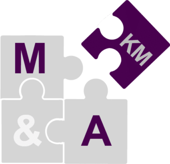 "Puzzle pieces that show three puzzle pieces with ""M&A"" written on them and another puzzle piece completing the puzzle with ""KM"" written on it, showing how KM is a piece of the M&A puzzle"