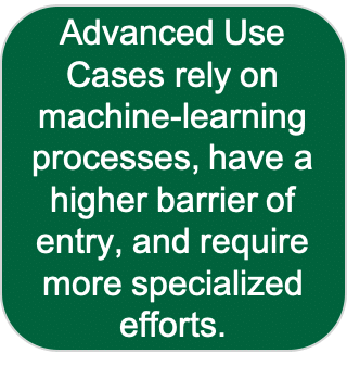 advanced use cases rely on machine-learning processes, have a higher barrier of entry, and require more specialized efforts