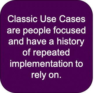 classic use cases are people focused and have a history of repeated implementation to rely on