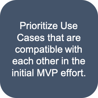 Prioritize use cases that are compatible with each other in the initial MVP effort