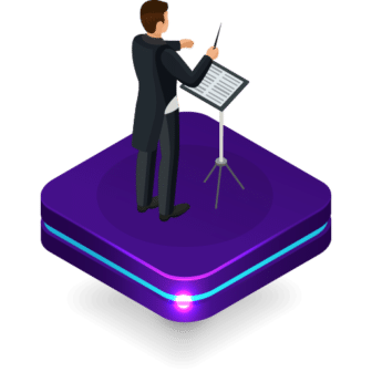 A conductor standing at a music stand