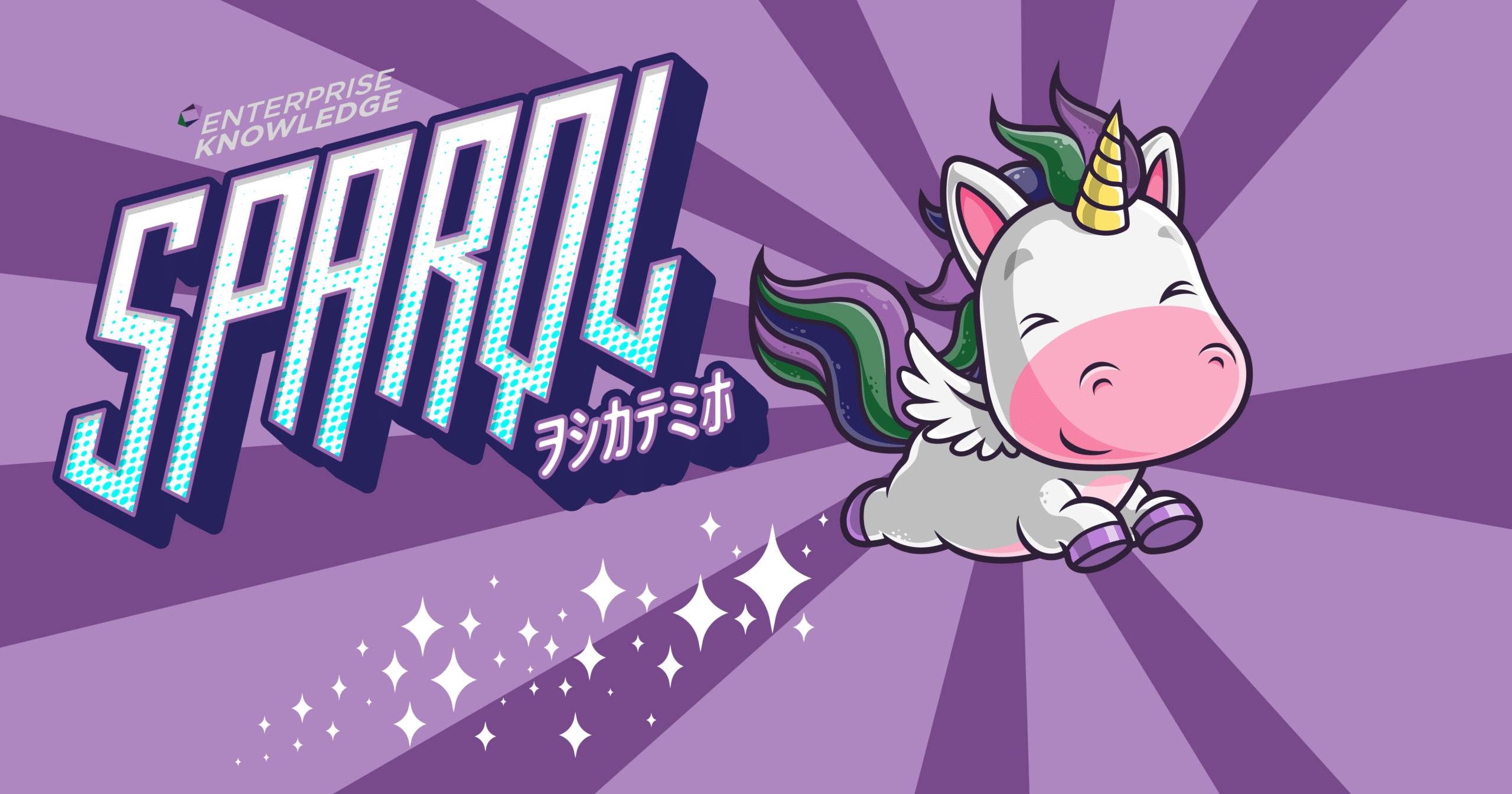 A cartoon unicorn flying through the air followed by a trail of sparkles, with the block letters SPARQL and Enterprise Knowledge above it.