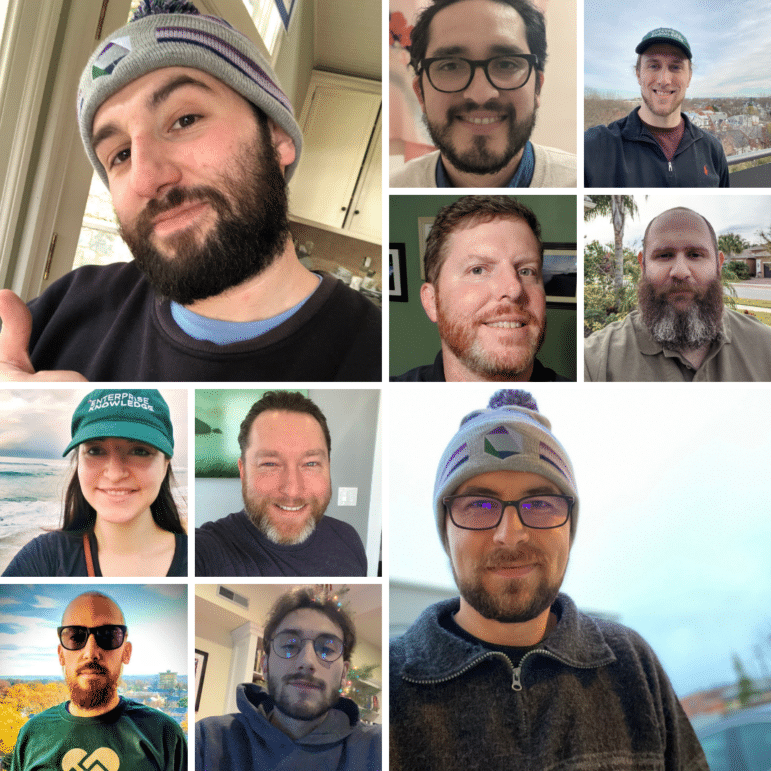 A group of EKers who participated in No Shave November to raise funds for charity.
