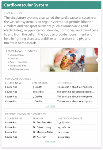 An example of a knowledge panel. It is about the Cardiovascular system, and includes three main sections: an overview, latest news and updates, and a list of popular courses.