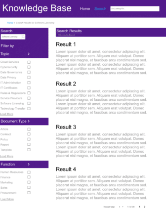 A sample search results page with filters on the left-hand side. Filters are well-designed, flat, short lists that are easy for an end user to interact with.